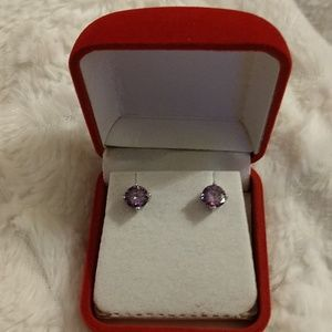 Pierced Earrings, Amethyst Stones